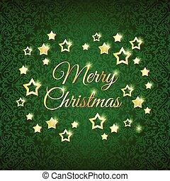 groene, sterretjes, achtergrond, kerstmis