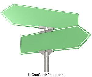 groene, straat, signs.