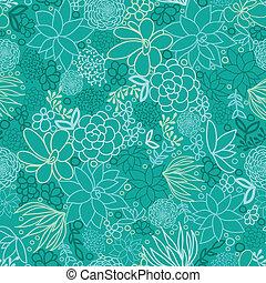 groene, succulents, seamless, model, achtergrond