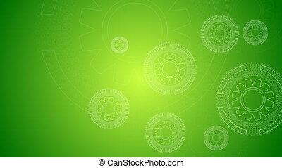 groene, technologie, video, animatie, met, toestellen