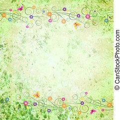 groene, textured, achtergrond, met, bloemen, grens