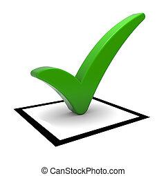 groene, tick, symbool