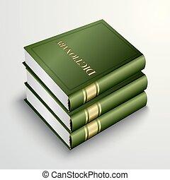 groene, vector, stapel, boek, woordenboek