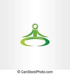 groene, vector, yoga man, pictogram