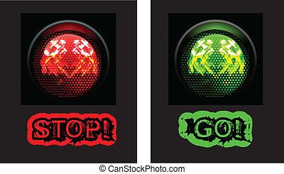 groene, verkeer, rood licht