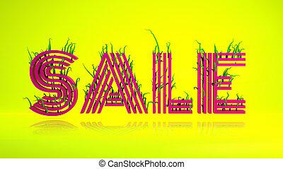 groene, vertolking, groot, vormen, verkoop, illustratie, 3d, vrijstaand, brieven, gele, background-, informatietechnologie, rood, woord, gras