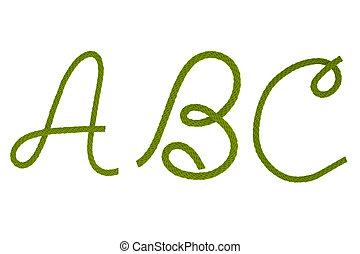 groene, vezel, koord, een
