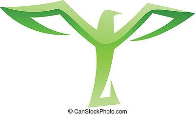 groene vogel, pictogram