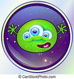 groene vreemdeling, monster, in, ruimte