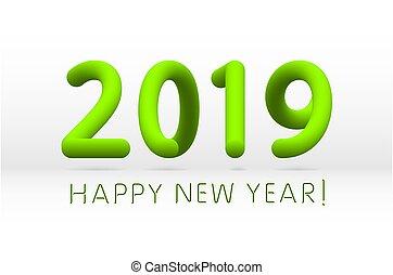 groene, vrijstaand, illustratie, symbool, achtergrond, vector, 2019, jaar, nieuw, witte , vrolijke