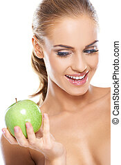 groene, vrouw, knapperig, appel, vrolijke