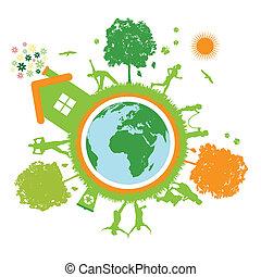 groene, wereld, planeet, leven