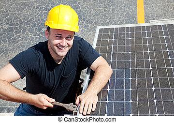 groene, werk, -, vrolijke , arbeider