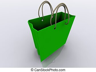 groene, winkel, zak