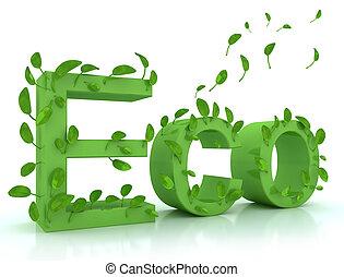 groene, woord, eco, met, bladeren