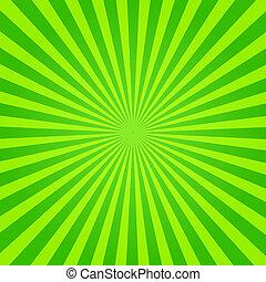groene, zonnestraal, gele
