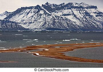 groenland, nyhavn, arctique, -, paysage, base