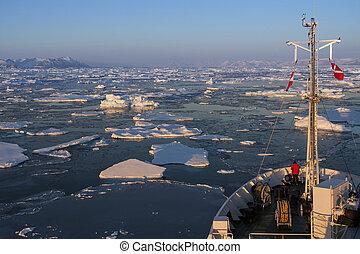 groenlandia, -, turista, icebreaker
