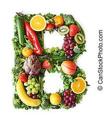 groente, alfabet, fruit