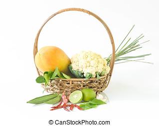 groente, bio, groentes, basket., fris
