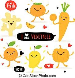 groente, en, fruit, spotprent, schattig, set, gember, pompoen, mango, sinaasappel, wortel, persimmon, vector
