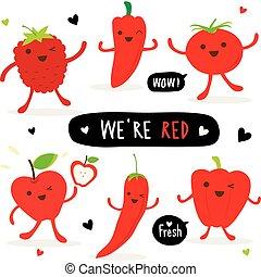 groente, en, fruit, spotprent, schattig, set, peper, rood, chili, tomaat, appel, aardbei, vector