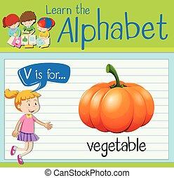 groente, flashcard, brief, v