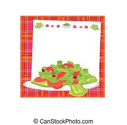 groente, fris, slaatje, kaart