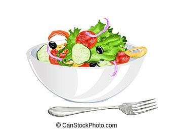 groente, fris, vegetariër, slaatje