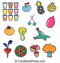 groente, fruit, tekening