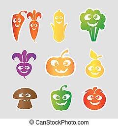 groente, fruit, vector, illustratie, verzameling