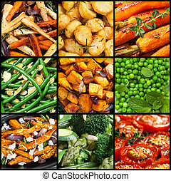 groente, gaar, verzameling, vaat