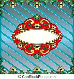 groente, gold(en), frame, omvangrijk, ornament