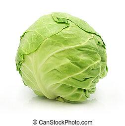 groente, hoofd, groene, vrijstaand, kool