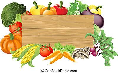 groente, houten, illustratie, meldingsbord