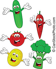 groente, karakter, spotprent