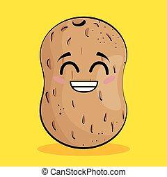 groente, komisch, karakter, aardappel