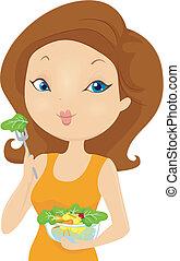 groente, meisje, slaatje