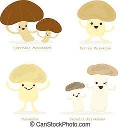 groente, paddenstoel, spotprent, schattig, set, vector
