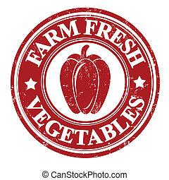 groente, postzegel, peper, of, etiket