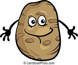 groente, schattig, spotprent, illustratie, aardappel