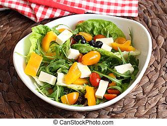 groente, slaatje, met, feta kaas