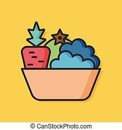 groente, slaatje, vector, pictogram