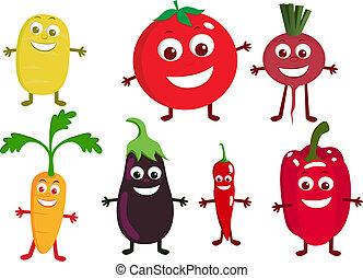 groente, spotprent, karakter