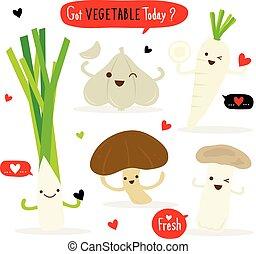 groente, spotprent, schattig, set, radijsje, shiitake, eringii, paddenstoel, knoflook, prei, vector