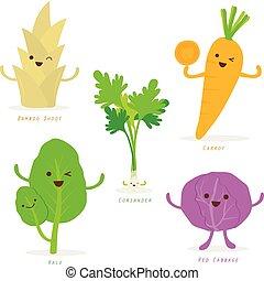 groente, spotprent, schattig, set, vector