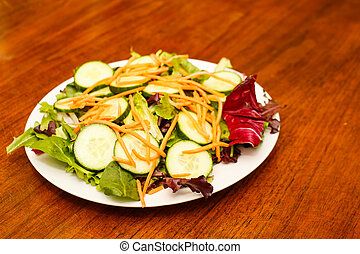 groente, tafel, hout, slaatje, fris