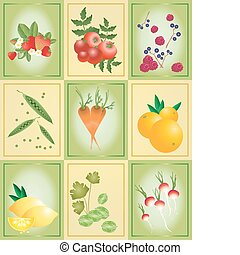 groente, tegels, fruit
