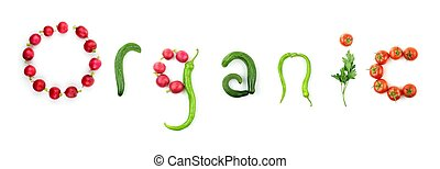 groente, tekst, organisch