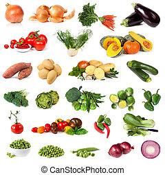 groente, verzameling, vrijstaand, op wit